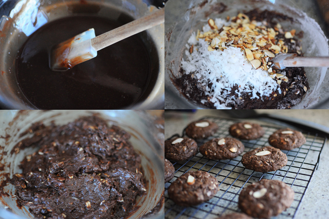 making chocolate coconut almond cookies