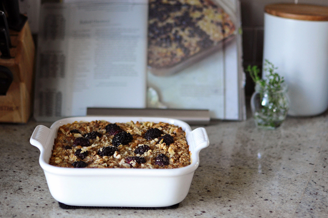 Post image for Baked Oatmeal {with Bananas and Blackberries}
